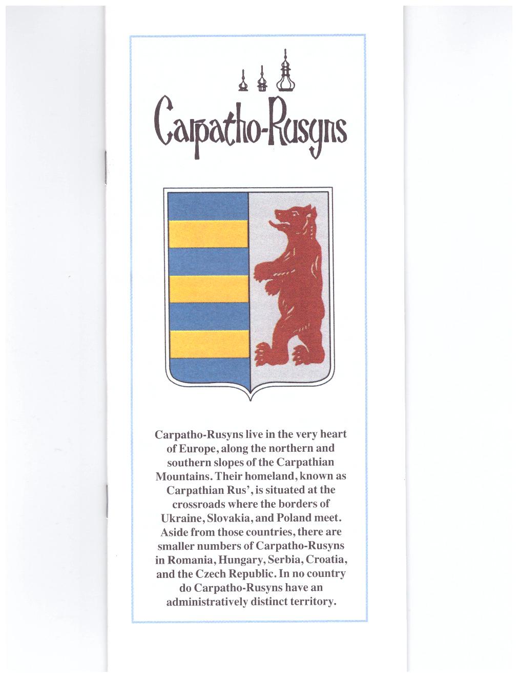 Carpatho-Rusyn brochure