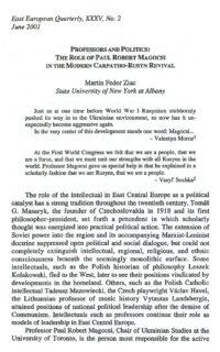 Martin Fedor Ziac - Professors and Politics: The Role of Paul Robert Magocsi in the Modern Carpatho-Rusyn Revival